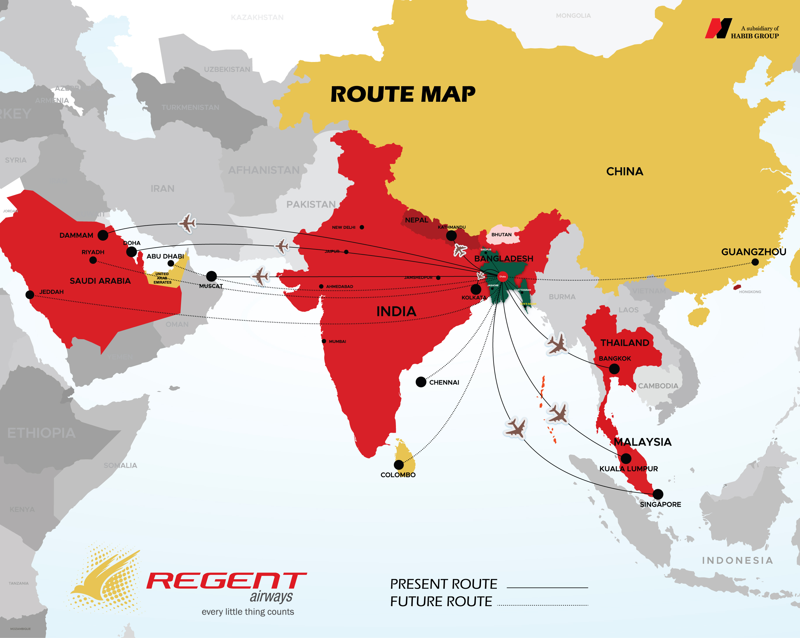 Route Map - Regent Airways